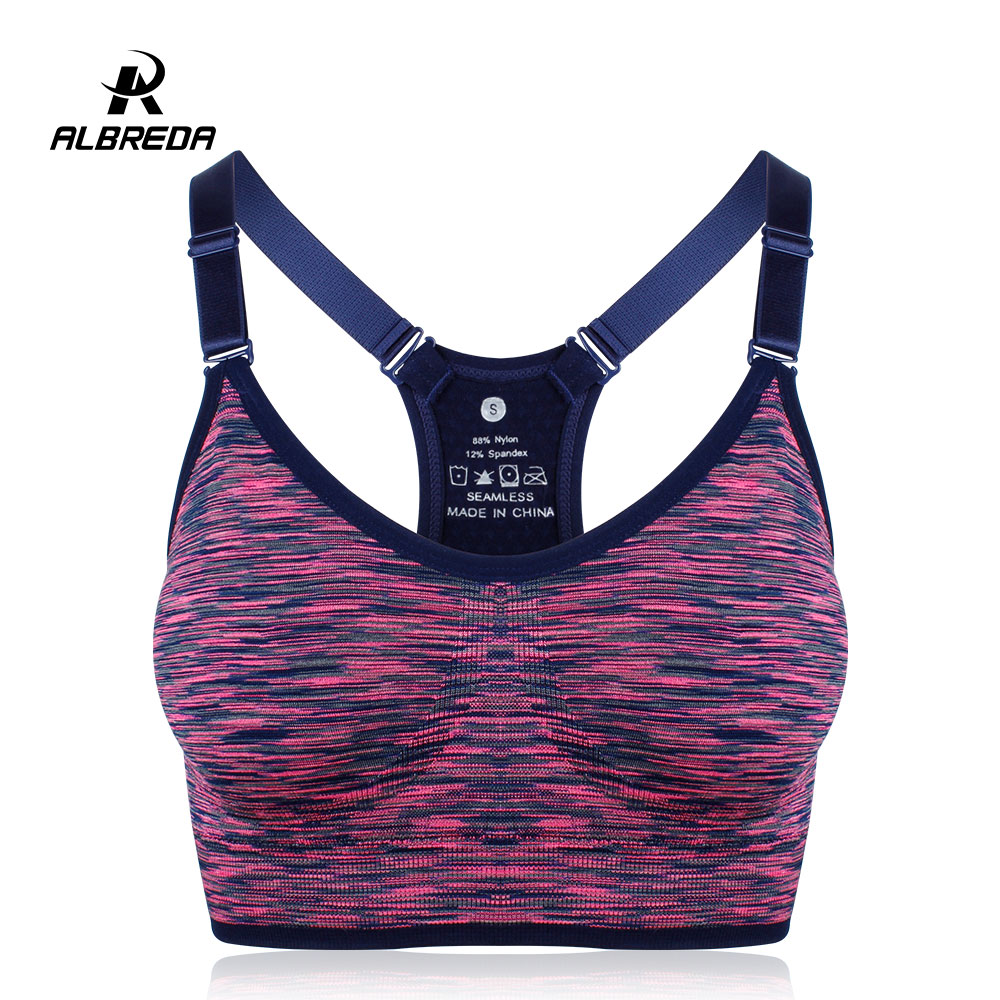 ALBREDA Women Yoga bra Sports Bra Running Fitness Gym bras female Straps Padded Crop Top Underwear Athletic Segment dyeing Vest fashion girls yoga bra sports vest young female underwear training bras cotton soft teenage female fitness clothes undergarment