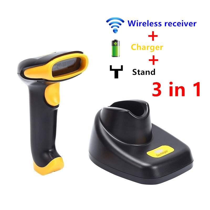 2D Wireless Scanner with Charger Stand 2D QR PDF417 DATAMETRIX Barcode  Reader Bar Code Gun with 2M Storage