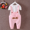 Baby girl clothes spring /autumn style girls sets cartoon T-shirt + suspenders trousers