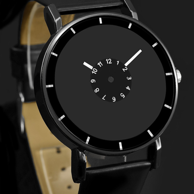 Hot Design Leather strap watch elegant quartz wristwatch men women clock black &