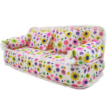 One Pcs  Mini Dollhouse Furniture Flower Sofa Couch With 2 Cushions For Barbie House Toys