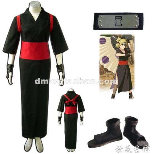 Free DHL Shipping Naruto Shippuden Naruto Cosplay Temari Black Womens Naruto Costume+Shoes