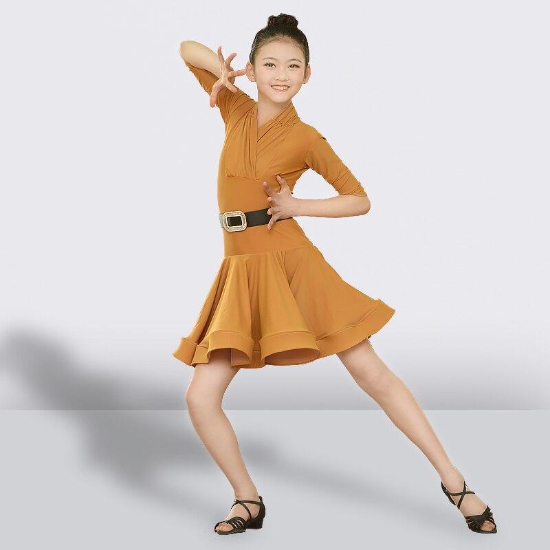 Robe de danse latine pour filles jupe à manches longues pour enfants Salsa Tango robe de danse de salle de bal Latin enfants pratiquent des vêtements de danse