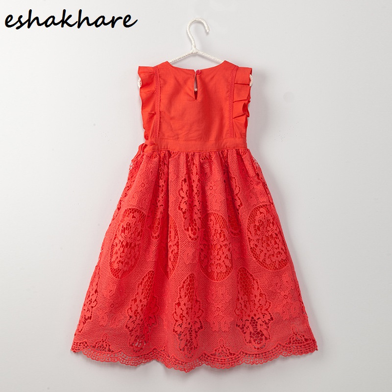 ESHAKAHRE girls lace dress sleeveless 2017 summer new cotton princess Korean version of the big child manufacturers baby lace princess dress girls summer 2017 korean version of the new kids children gauze qz 3305