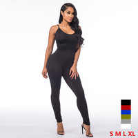 Casual New Style 2015 Solid Color Romper Playsuit V Neck Sleeveless Cotton Grey Black Rompers Womens