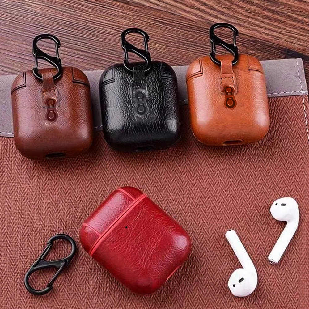 Leather Wireless Bluetooth Earphone Case For Apple Airpods Headphone Earpods Shockproof Protective Cover Airpod Case Funda