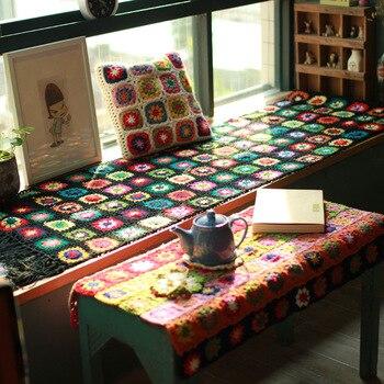 Craft Black 190*50 Sofa Mat Outdoor Tea Ceremony Hand Hooked Fashion Crochet Blanket Cushion Felt Pastoral Style Gift
