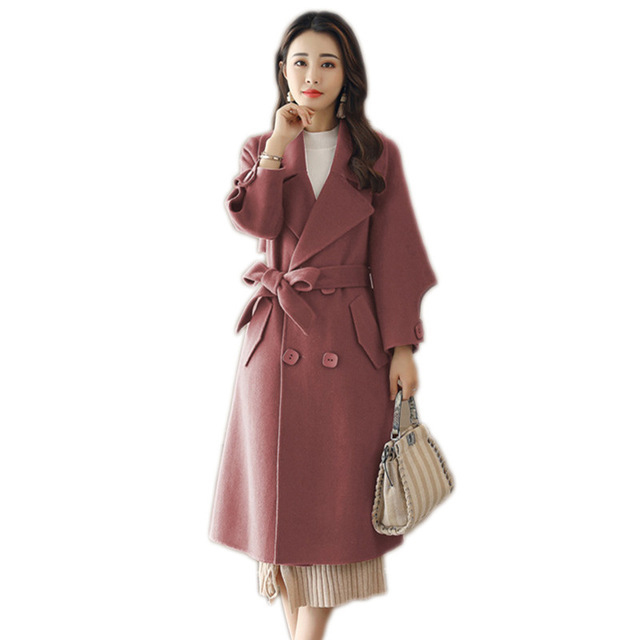 2018 neue Mode Zweireiher Frauen Kaschmir Mid-lange Jacken und Mäntel Weibliche Wolle Mantel Großhandel