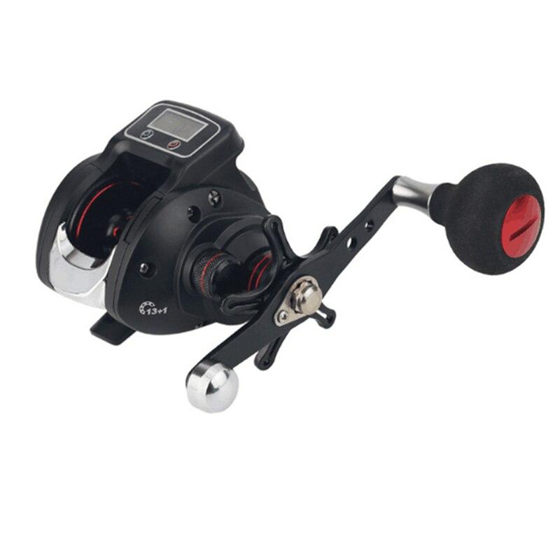 13+1 Ball Bearing Left / Right Fishing Reel with Digital Display Baitcasting Line Counter Carp Saltwater Reel 6.3:1 Casting Reel