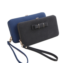 Sansarya 8 Colors Lichee Pattern Women s PU Leather Clutch Hasp Wallets Bowknot Phone Bank Card