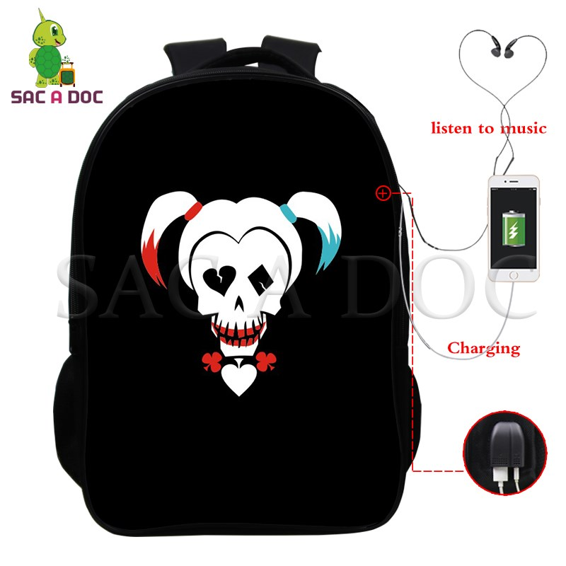 Suicide Squad Multifunction Backpack Harley Quinn Joker School Bags Women Men USB Charging Laptop Backpack Casual Travel BagsSuicide Squad Multifunction Backpack Harley Quinn Joker School Bags Women Men USB Charging Laptop Backpack Casual Travel Bags