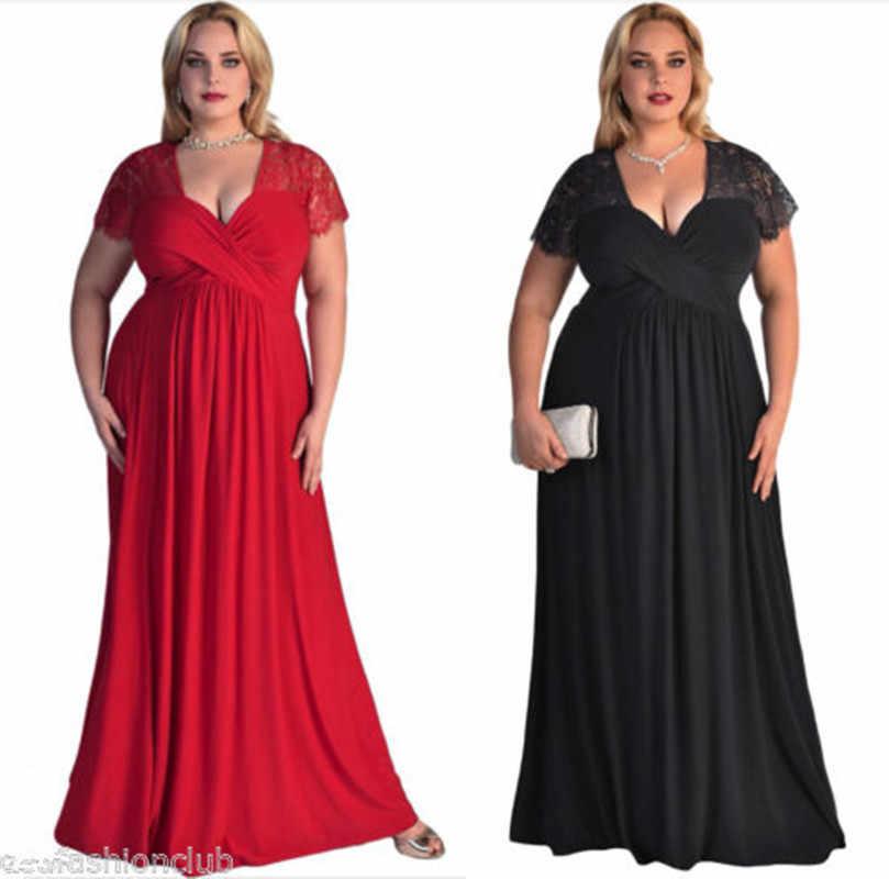 Robe De Soiree 2019 שחור בתוספת גודל ערב שמלות אלגנטי קו V צוואר קצר שרוול תחרה ארוך פורמליות חתונה מסיבת שמלות