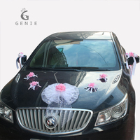 Genie Wedding Wreath Pink Flowers With White Bow Car Decoration Sets Pompoms Artificial Foam Rose Pearl