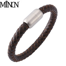 MINCN bracelet men Braided leather mens Bracelet Stainless steel magnet buckle metal accessories