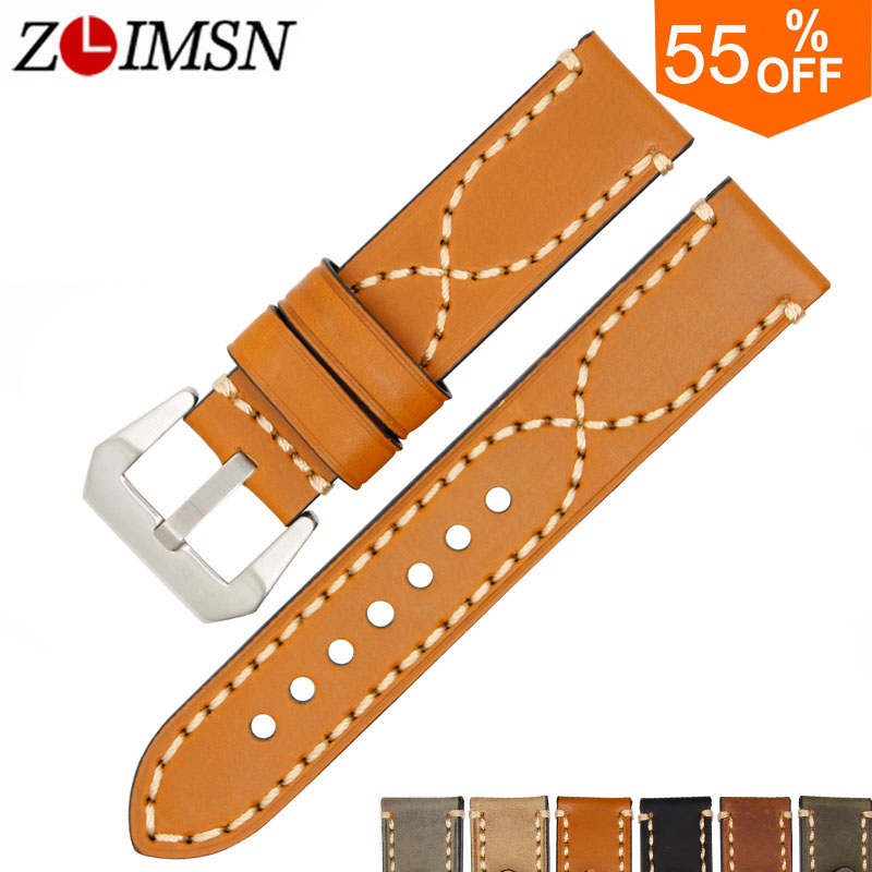 ZLIMSN Genuine Leather Watchbands Men Women Italy Watch Band Strap for Panerai Belt Stainless Steel Buckle 20 22 24 26mm relogio zlimsn men s watch band for panerai 20 22 24 26mm black brown watchband stainless steel buckle wrist belt genuine leather