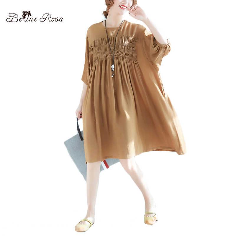 BelineRosa 2018 Women s Summer Dresses Casual Simple Style Women Clothing  Pure Color Folding Big Sizes Dresses d6ddc61452a2