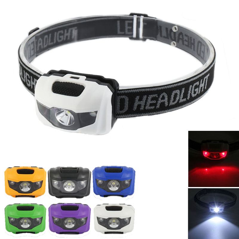 Portable Mini 4 Modes Lightweight Headlight LED Camping Head Lamp Head Flashlight Running Head Light Camping Headlamp AAA Battey
