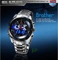 Hight Qualidade Relógio Moda masculina de Aço Inoxidável LED Azul Pointer Assista Mens 30AM À Prova D' Água