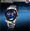 Hight Quality Stainless Steel Men's Clock Fashion Blue LED Pointer Watch Mens 30AM Waterproof