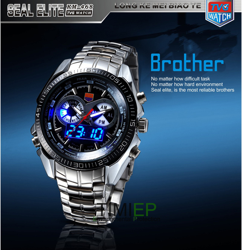 TVG 2019 Hight Quality Stainless Steel Mens Clock Fashion Blue LED Pointer Watch Mens 30AM Waterproof sport watchTVG 2019 Hight Quality Stainless Steel Mens Clock Fashion Blue LED Pointer Watch Mens 30AM Waterproof sport watch