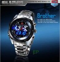 TVG 2019 Hight Quality Stainless Steel Men's Clock Fashion Blue LED Pointer Watch Mens 30AM Waterproof sport watch