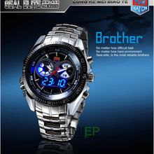 TVG 2019 Hight Quality Stainless Steel Men's Clock Fashion Blue LED Pointer Watch