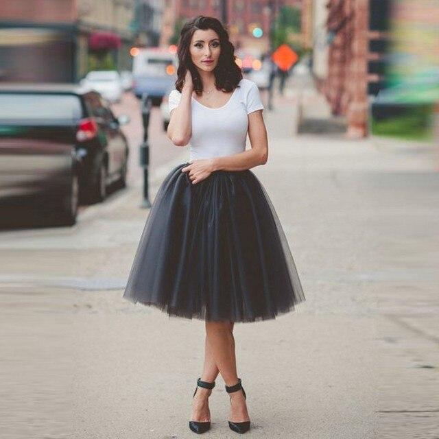 ea1d2875c Street Style Short Tulle Skirt Puffy Long Skirts Womens Knee Length Mesh Cheap  Skirt Girl Tutu Skirt Women High Waist Saia