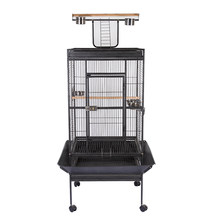 "63"" Bird Cage Large Play Parrot Cages Finch Cage Macaw Cockatoo Bird Cage with Stand Bird Supply Bird House Black - US Stock(China)"