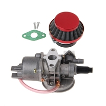 Carburetor Carb Carby + Red Air Filter + Stack For 2 Stroke 47cc 49cc Engine Parts Mini Moto p360 carburetor fits husky partner 360 pa360 chainsaw carburttor brushcutter carb asy weedeater carby blower