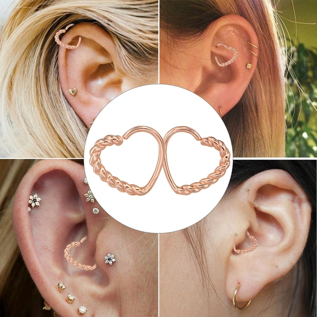 Body Punk 16g Multi Functional Heart Shape Twisted Cartilage Earring Hoop Fake Nose Ring Eyebrow