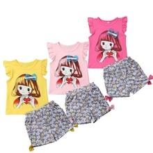 цена на 2Pcs Kids Baby Girls Clothes Toddler Cartoon Tops Sleeveless T-Shirt Floral Short Pants Outfits Clothes Set 2019