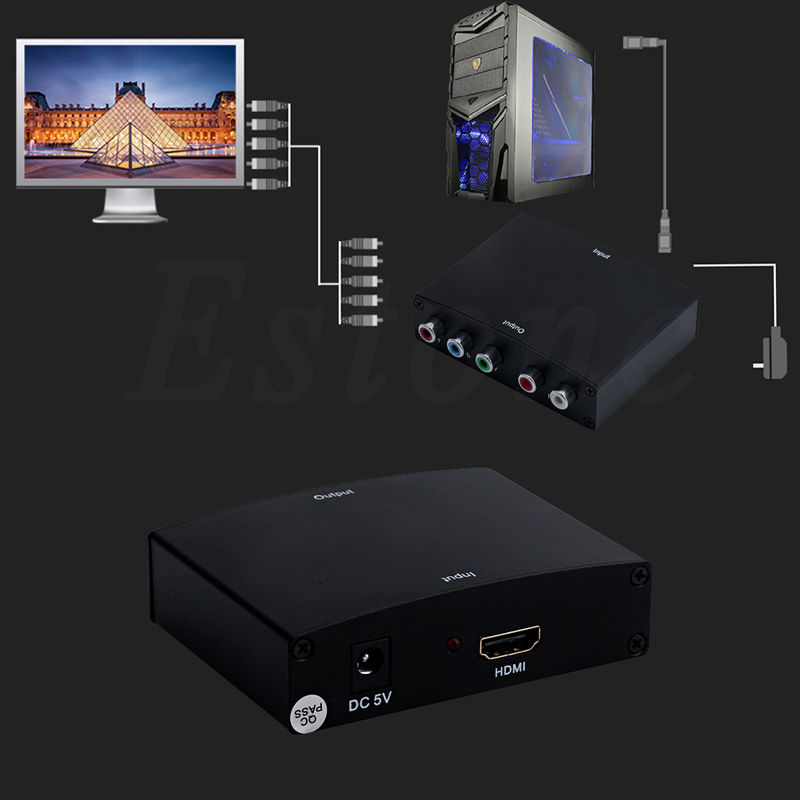 US Plug 1080P HDMI to RGB Component (YPbPr) Video+R/L HDTV  Audio Adapter Converter HD TV OE 5V DC Power Supply C26 ypbpr to hdmi converter 5rca component audio video scaler adapter