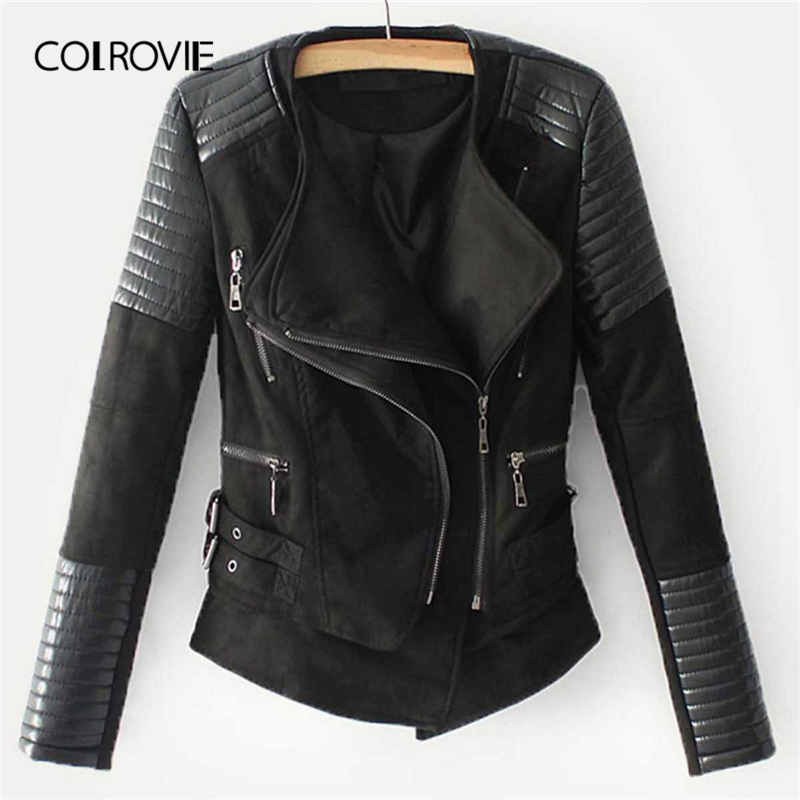 COLROVIE Black Zipper Pocket Biker Quilted PU Leather Jacket Coat Women 2019 Streetwear Ladies Jackets Casual