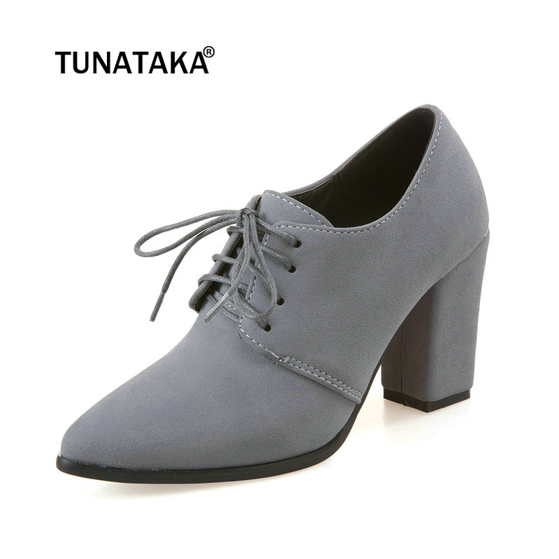 Woman Thick High Heel Pumps Fashion Dress Lace Up Shallow Pointed Toe Spring Autumn Shoes Women Gray Black Apricot new spring autumn women shoes pointed toe high quality brand fashion ol dress womens flats ladies shoes black blue pink gray