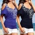 2016 Mulheres do Verão T-Shirt Ocasional Das Senhoras Manga Curta Ombro Off T Camisa Solta Sexy Camiseta de Lantejoulas Festa Na Praia Tops