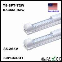 LED Tube 8FT 8 Pieds LED T8 Intégré Tube Refroidisseur Porte Double côtés LED SMD2835 2.4 M 240 cm LED Tube Fluorescent Lumière Stock Dans NOUS