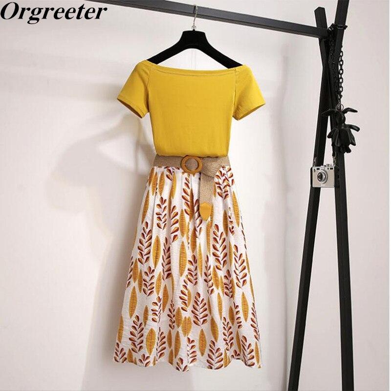 Women Summer T Shirt 2-piece Set Off Shoulder Basic Tees+High Waist Leaf Print Skirt Sets Fashion Suit With Free Braided Belt