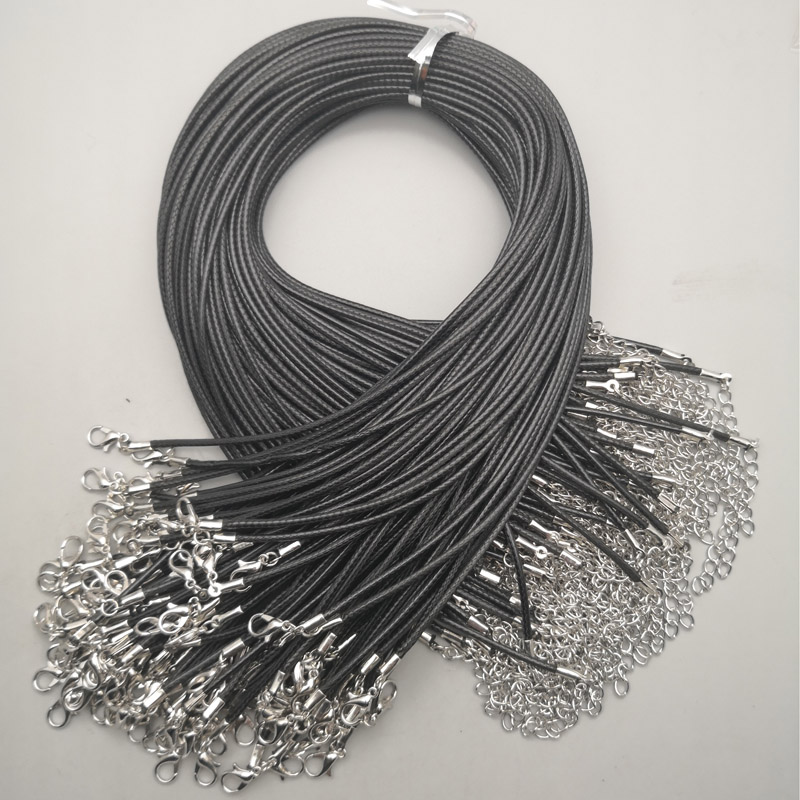 Wholesale 2MM jewelry clasp lobster clasp Necklace Rope wax Leather Cord black necklace lanyard pendant cords 50pcs/lot Free title=