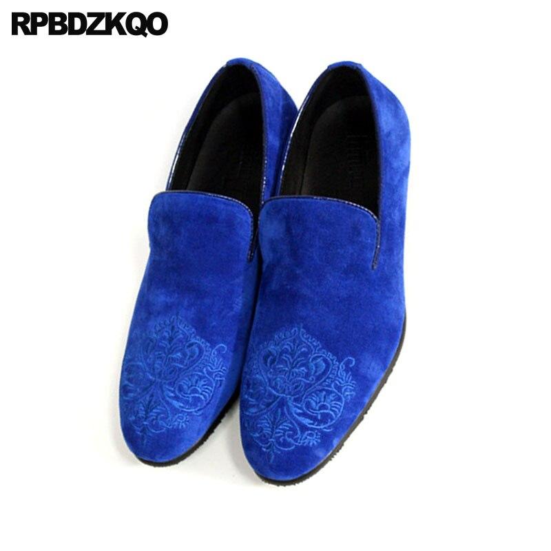 Velours bleu Taille Fumer Sur Véritable Mocassins Haute Brodé Chaussures Des Bal Cuir En Floral Pantoufles Qualité Hommes Glissement Solides La Plus Noir De BxIqSwwv7