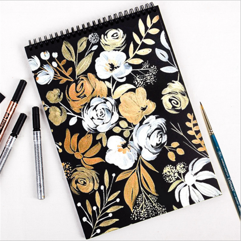 Retro Watercolor Paper for Drawing Painting Graffiti Coiling Black Paper Sketch Book Memo Pad Notebook Office School Art Gift
