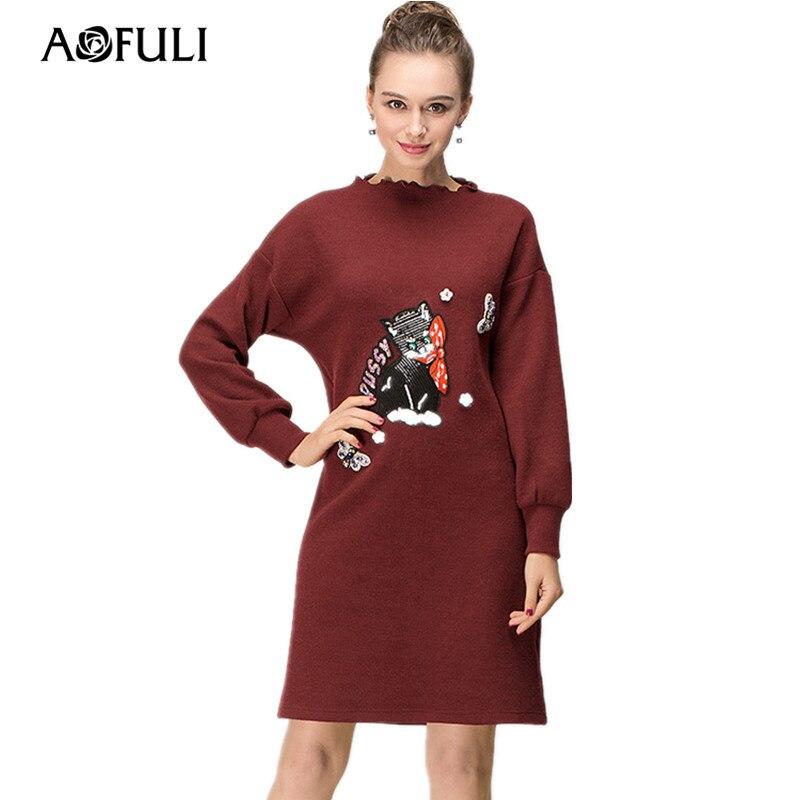 La Casual 4xl Femmes Chat Robes Taille Printemps L 5xl Manches Droite Robe 2018 Longues Chandail Aofuli 3xl Plus Applique À Eq6TXCwC
