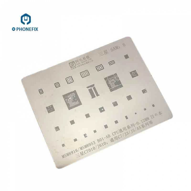 PHONEFIX BGA Reballing Stencil şablon Samsung C7010 J610 CPU MSM8916 MSM8953 B01-AB C7 J3 J5 A5 telefonu tamir aracı
