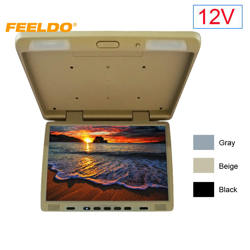 FEELDO DC12V Truck Bus 17 TFT LCD Roof Mounted Monitor Flip Down Monitor For Car DVD