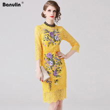Banulin 2019 New Fashion Runway Summer Dress Womens Half Sleeve Elegant Hollow Out Floral Embroidery Yellow Party Dresses