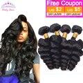 7А Virgin Перуанские Свободная Волна Локон 4 ШТ. Необработанные Перуанский Девственные Волосы Свободная Волна Rosa Продукты Волос Человеческие Волосы 100% расширение