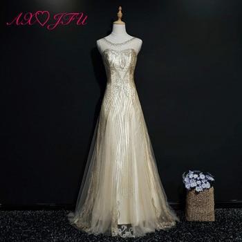 AXJFU Princess golden lace o neck a line evening dress luxury vintage beading crystal flower lace gold powder evening dress