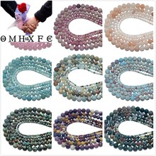 OMH Wholesale 4 6 8 10 MM Natural agates Tiger Eye Lapis lazuli Amethysts Stone Beads Jewelry Making DIY Bracelet Necklace ZZ01(China)