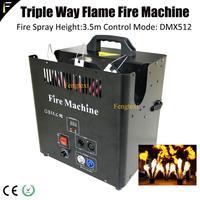 Palco DJ 3m Fonte de Chama de Fogo Sem Fumaça 3 Triplo Cabeça Controle De Ignição da Chama Fogo Máquina Jet com DMX512 para Night Club