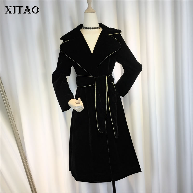 [XITAO] 2019 Women Europe Fashion New A-line Turn-down Collar Full Sleeve Long Coat Female Solid Color Bandage   Trench   ZLL2809