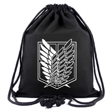 Drawstring Bag of Anime Attack On Titan String Backpack Men Women Shoulder Bag Sport Storage Bag